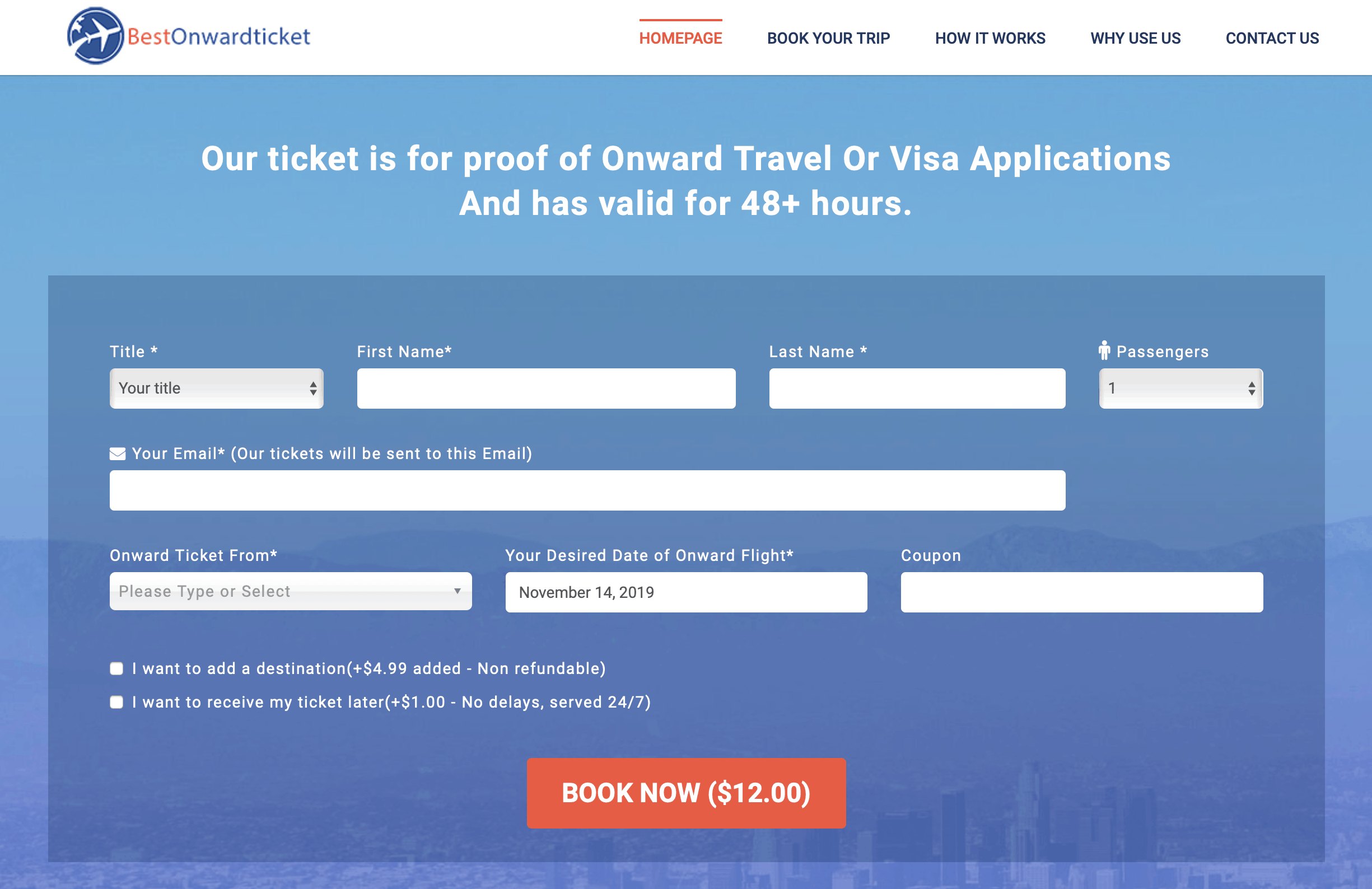 Screenshot Best Onward Ticket